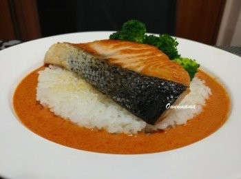 紅咖喱香煎三文魚飯