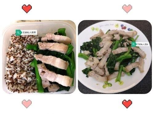 咸腩肉炒菜芯(愛心飯盒)