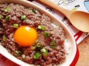 窩蛋免治牛肉飯