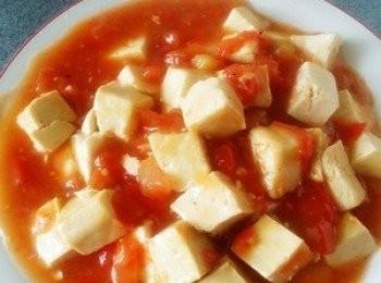 豆腐番茄煨肉粒
